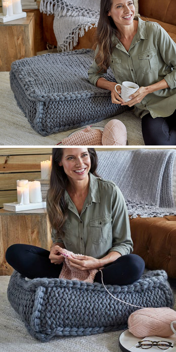 Free Knitting Pattern for Easy Extra Seating Floor Pillow