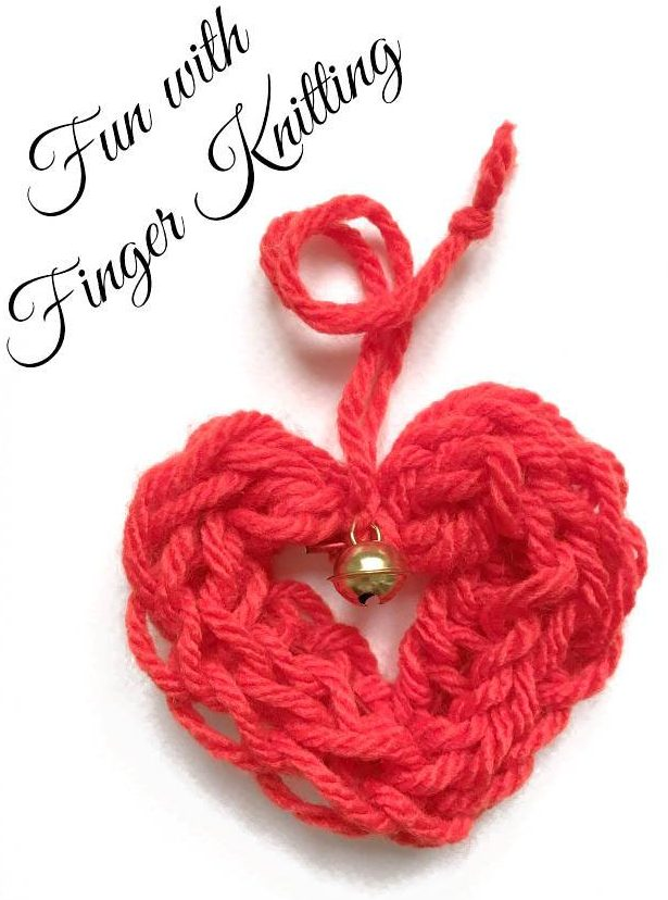 Free Knitting Pattern for Finger Knit Heart Ornament
