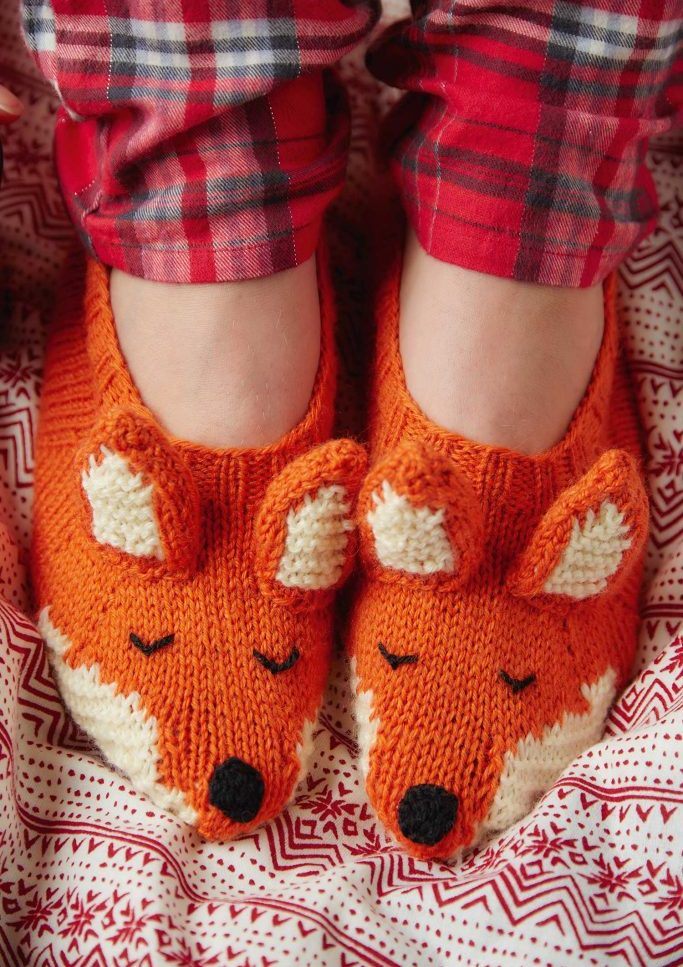 Free Knitting Pattern for Fox Slippers
