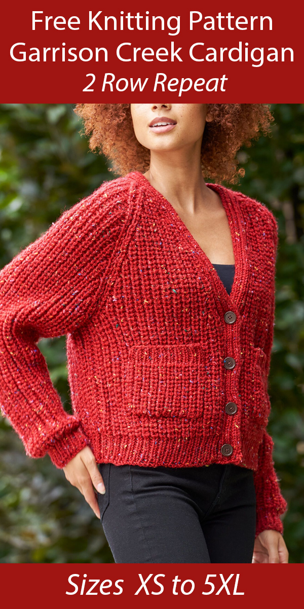 Free Cardigan Knitting Pattern in 2 Row Repeat Shaker Rib