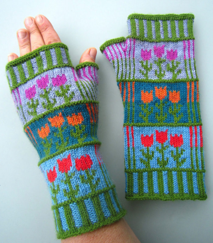 Free Knitting Pattern for Stripes and Tulips Mitts