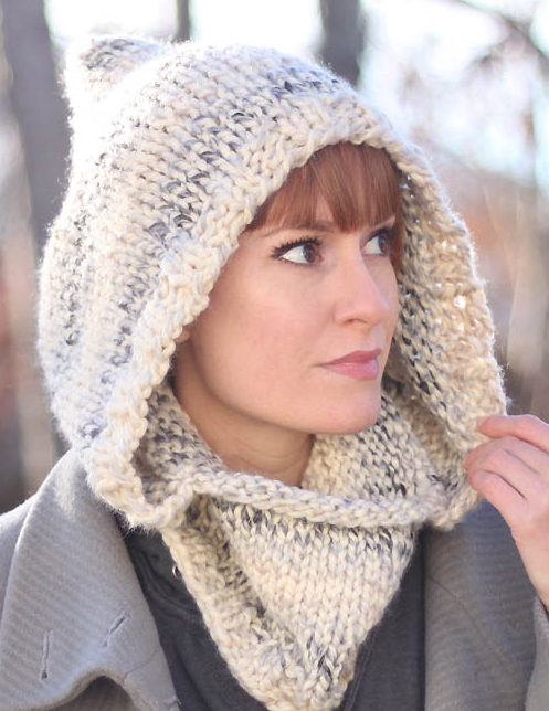 Free Knitting Pattern for Easy Hooded Cowl