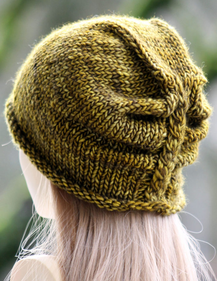 Free Knitting Pattern for Ruched Cable Hat