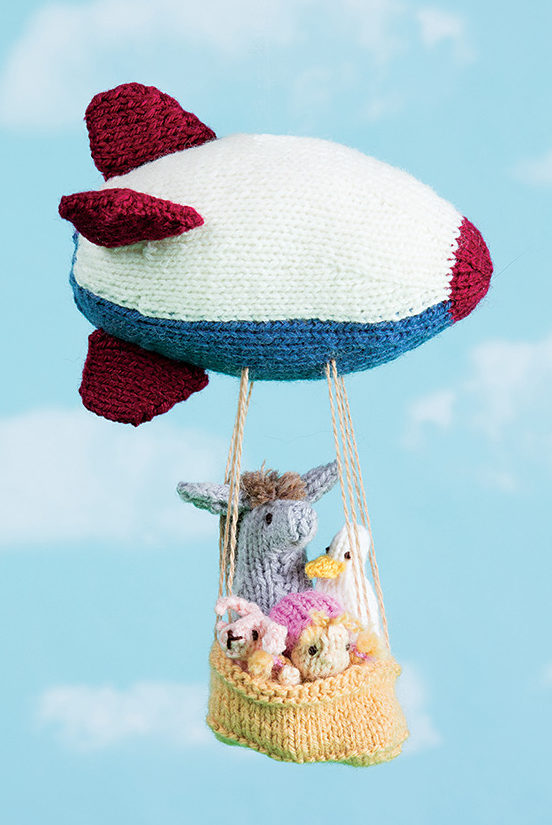 Knitting Pattern for Zeppelin Mobile With Animal Passengers