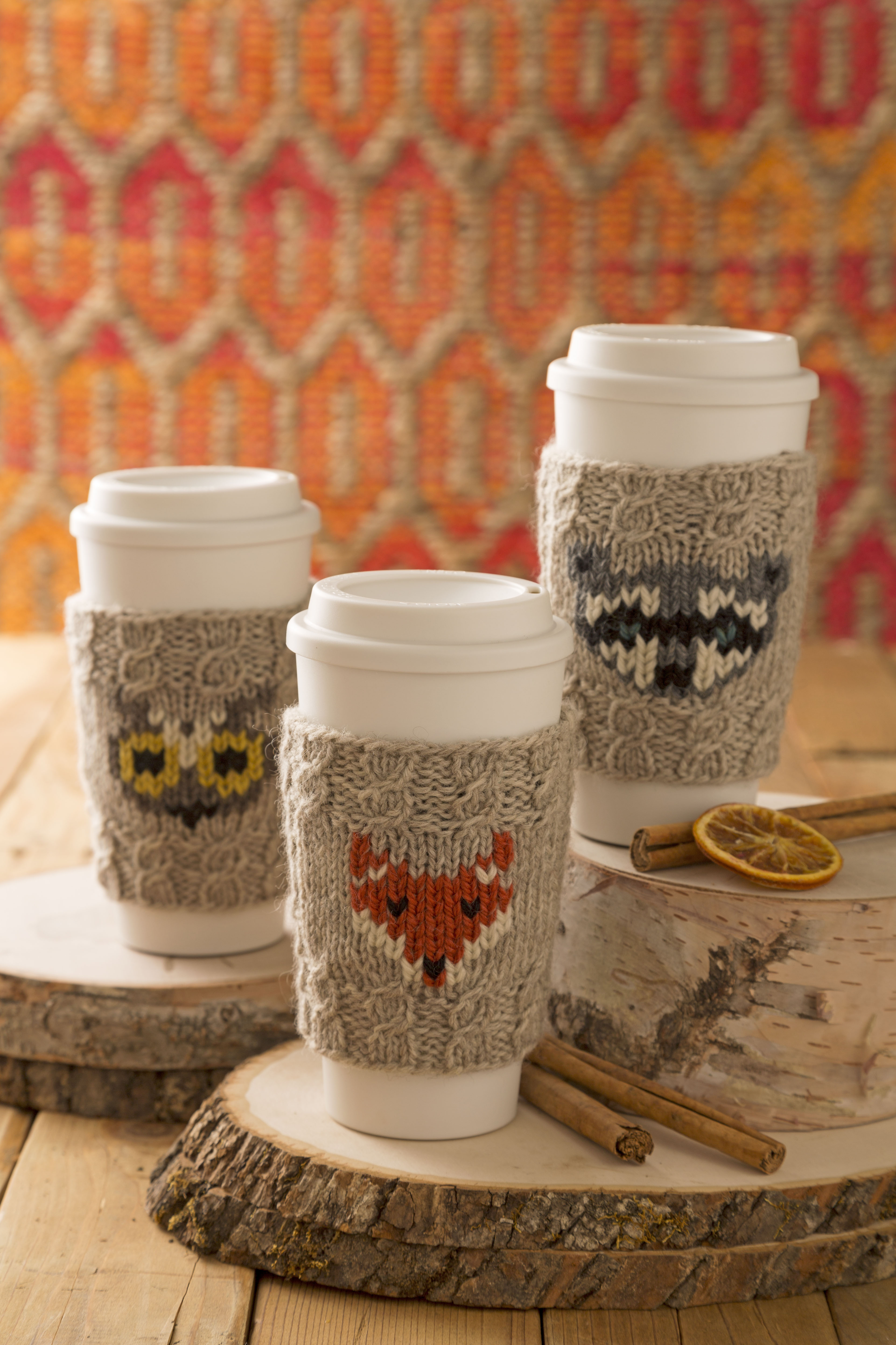 Free knitting pattern for Forest Folk Cup Cozies and more wild animal knitting patterns