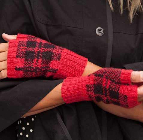 Knitting Pattern for Tartan Fingerless Mitts