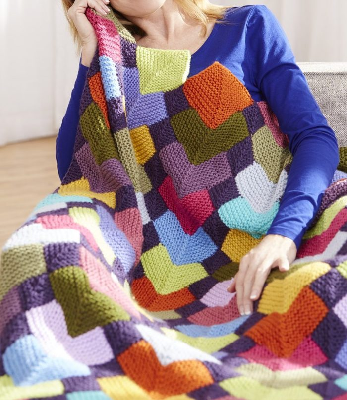 Free Knitting Pattern for Overlapping Squares Afghan