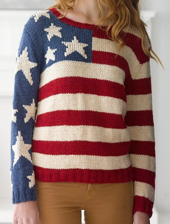 Free Knitting Pattern for Flag Pullover