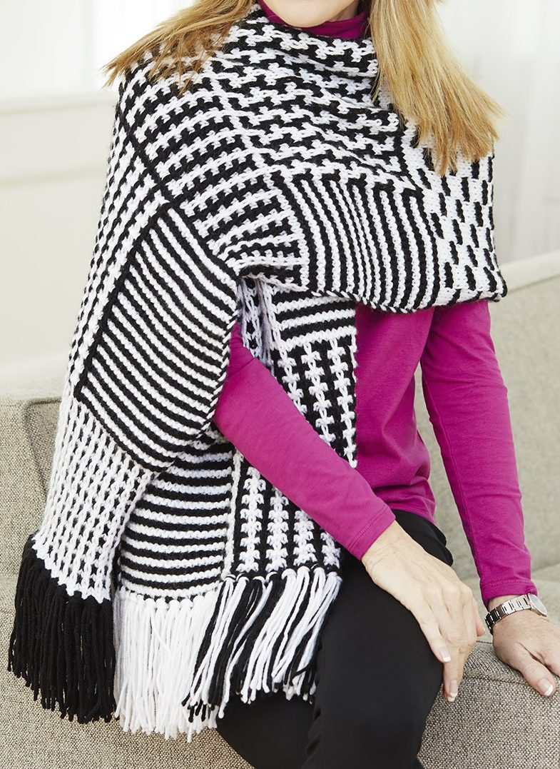 Free Knitting Pattern for Slip Stitch Graphic Shawl