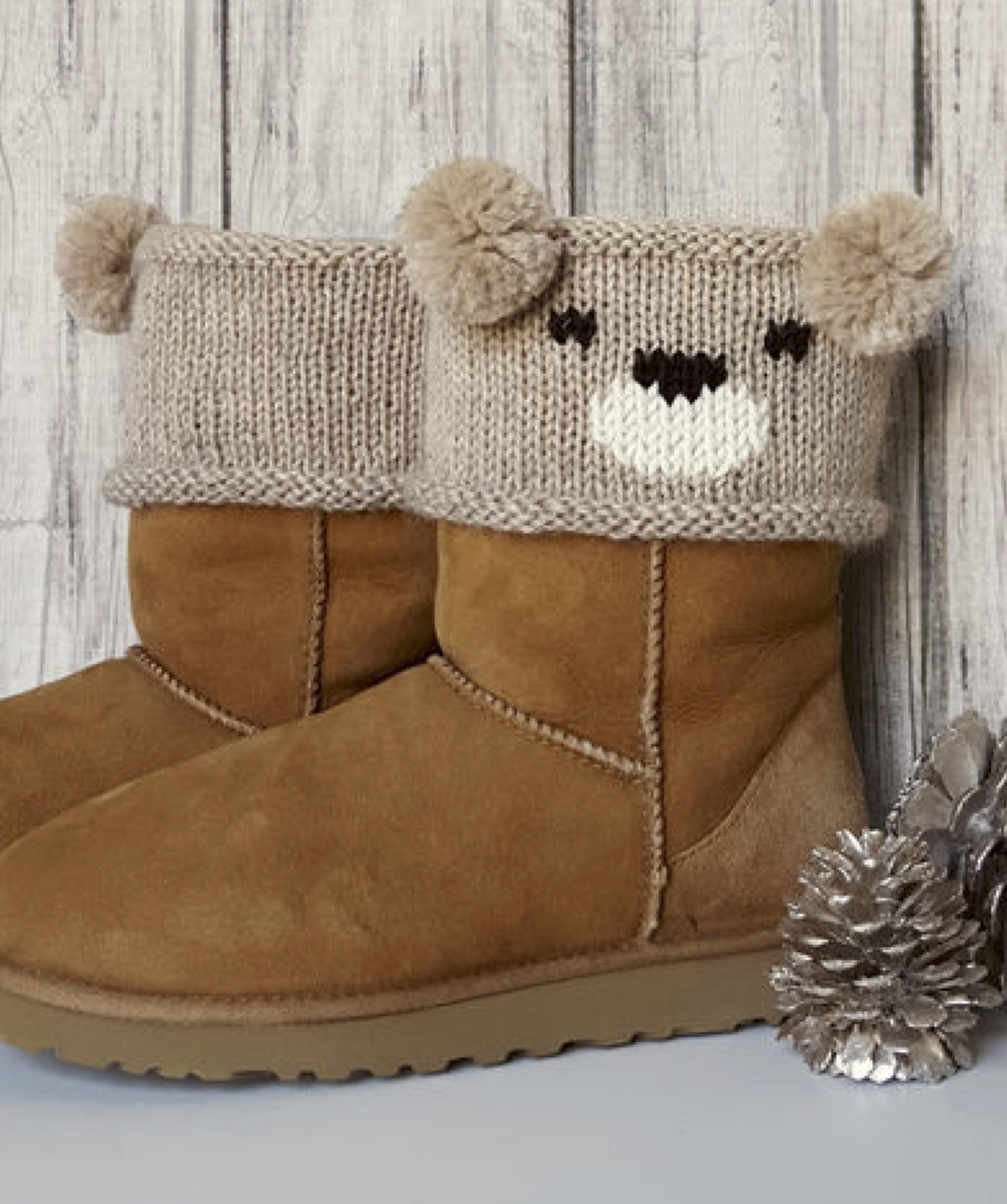 Free Knitting Pattern for Teddy Bear Boot Toppers