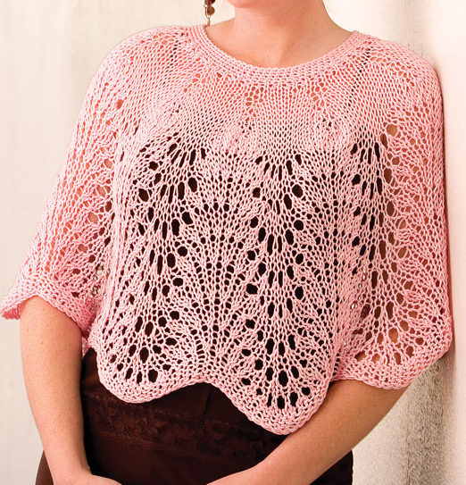 Knitting pattern for Lacy Waves Poncho