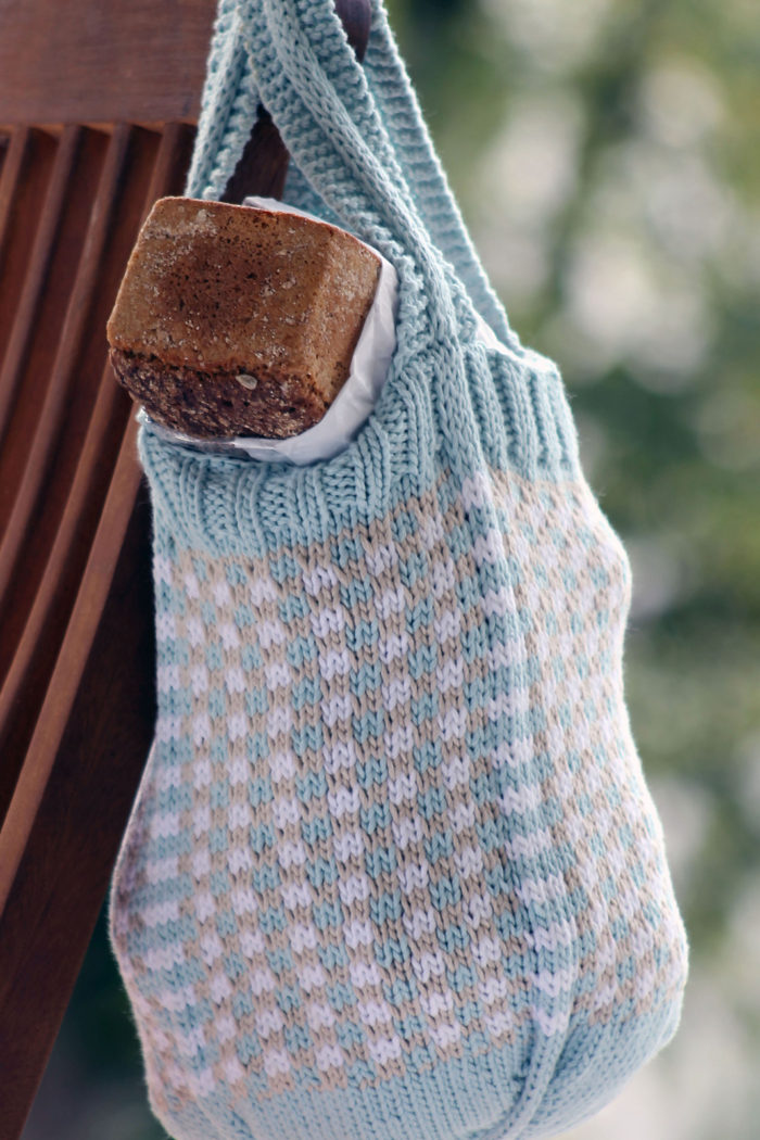 Free Knitting Pattern for Little Check Market Bag