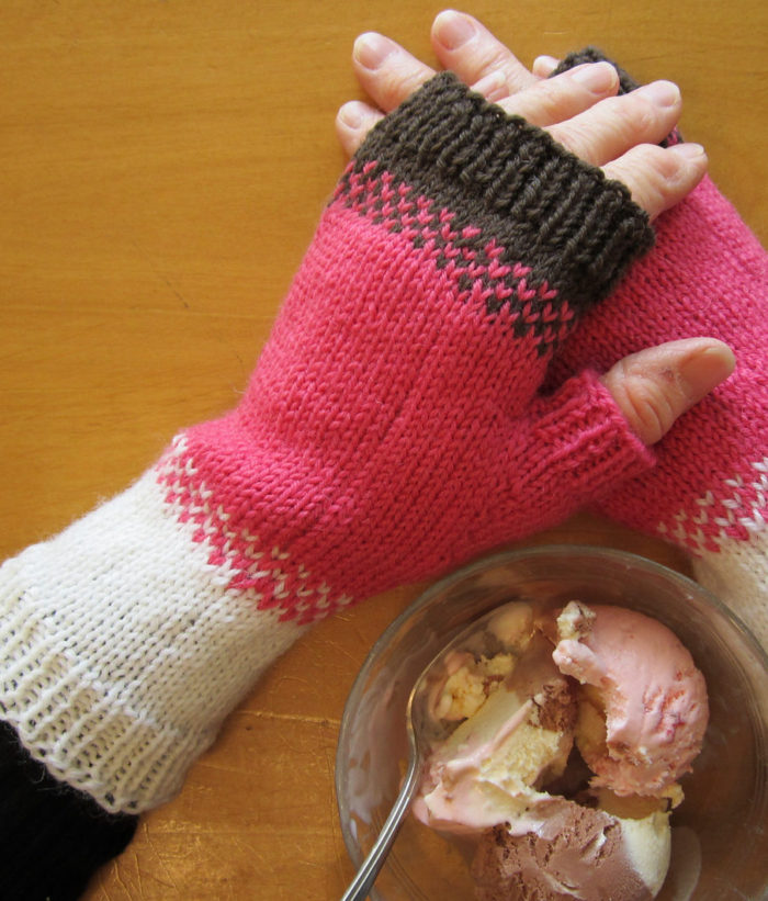 Free Knitting Pattern for Neapolitan Mitts