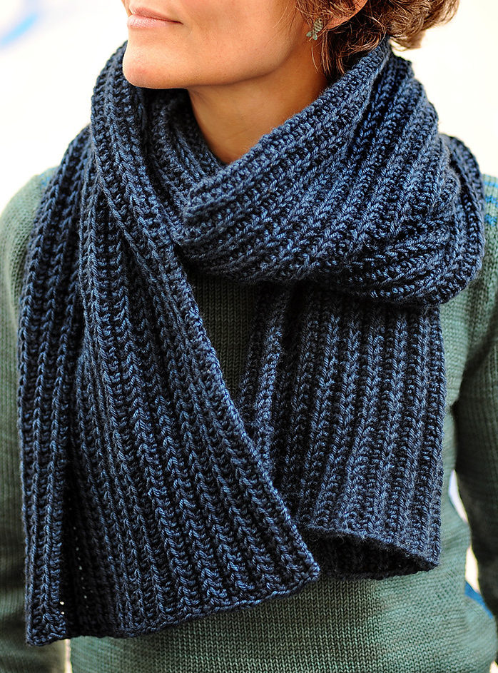 Free Knitting Pattern for No Purl Rib Reversible Scarf