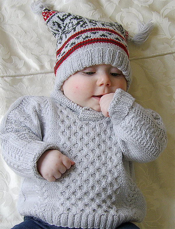 Knitting Pattern for Baby Cable Sweater, Fair Isle Hat, and Booties