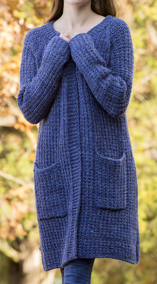 Free Knitting Pattern for 2 Row Repeat Penelope's Cardigan