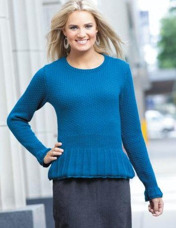 Knitting Pattern for Peplum Pullover