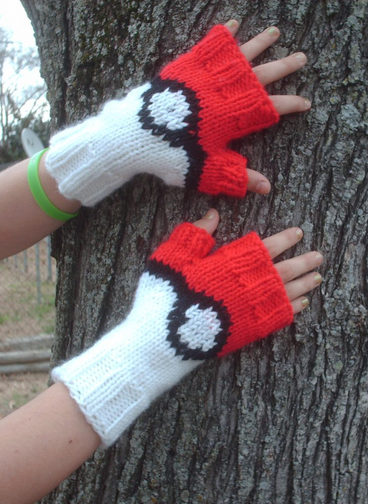 Free knitting pattern for Pokemon Pokeball Mitts