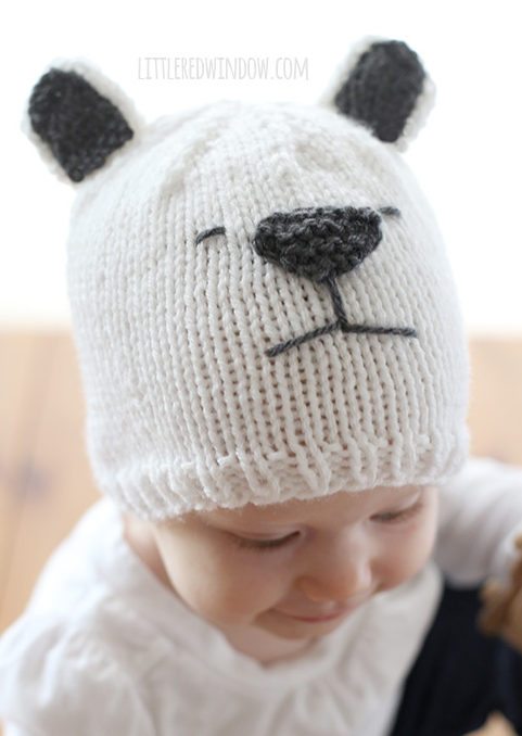 Free Knitting Pattern for Polar Bear Baby Hat