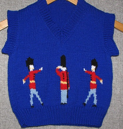 Free Knitting pattern Prince George Christmas Photo Pullover Guardsmen Sweater | More Royal Family Knitting Patterns at http://intheloopknitting.com/royal-family-knitting-patterns/