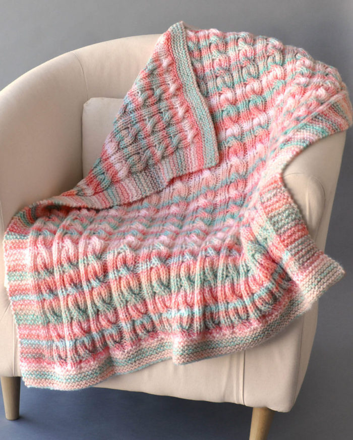 Free Knitting Pattern for Reversible Cable Blanket