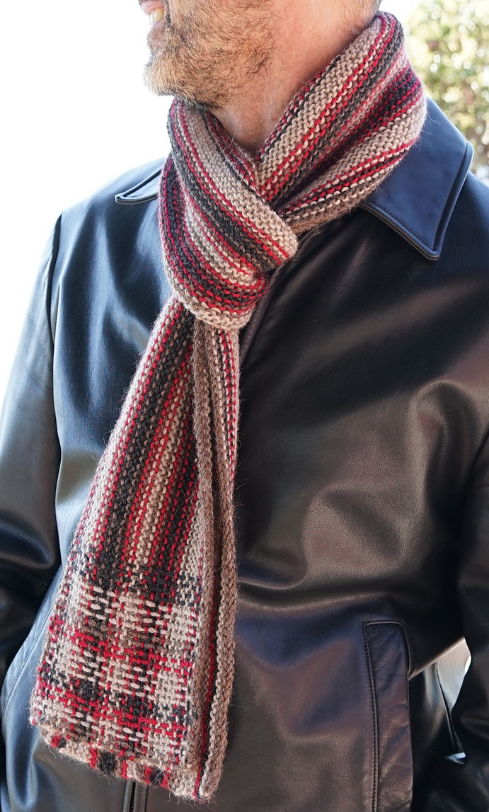 Free Knitting Pattern for Reversible Garter Plaid Scarf