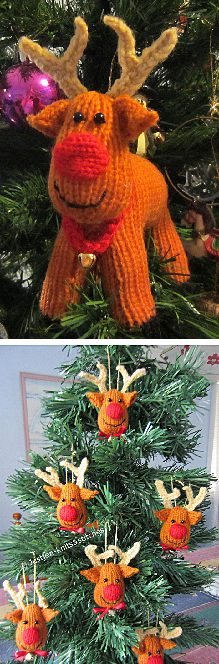 Free Knitting Pattern for Rex the Reindeer