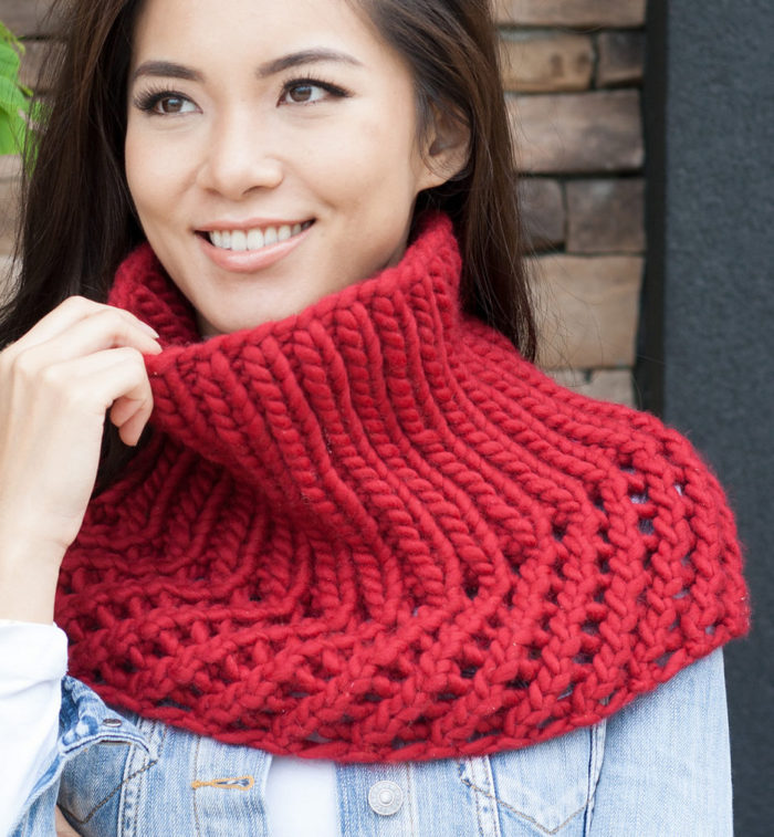 Free Knitting Pattern for Ribbed Cowlette