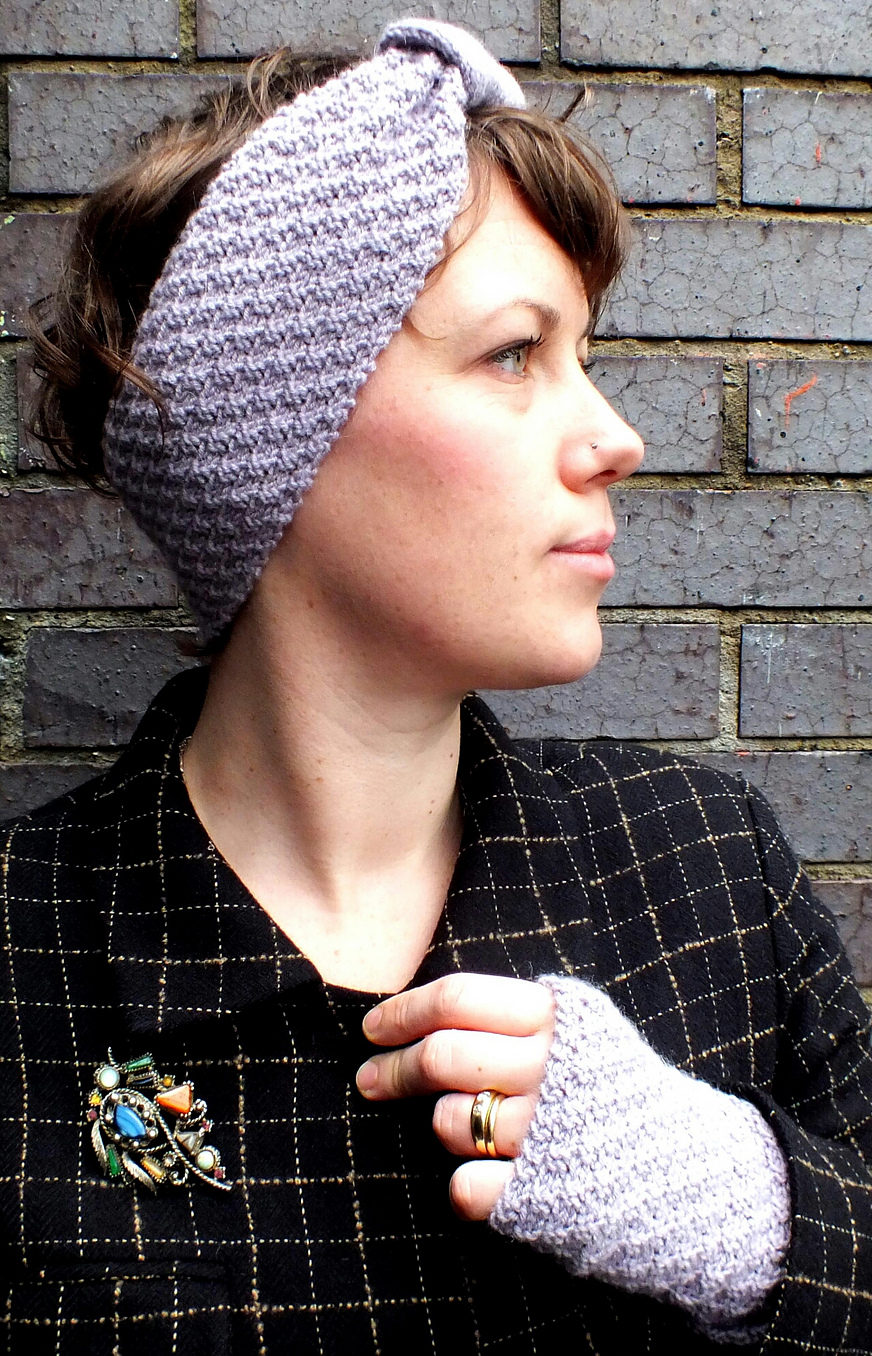 Free Knitting Pattern for Hopscotch Headband and Mitts