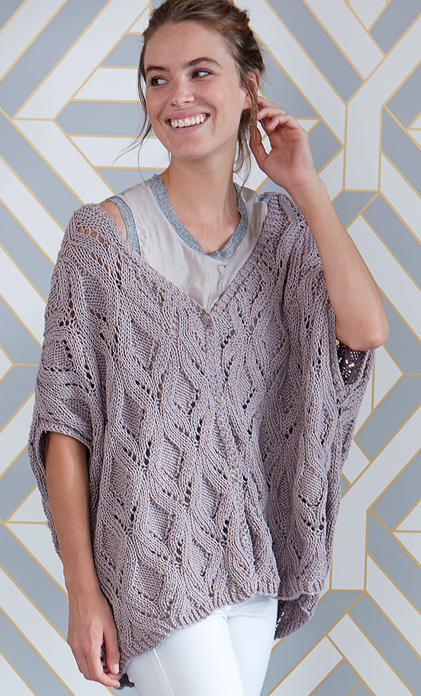 Free Knitting Pattern for Diamond Lace Swoncho