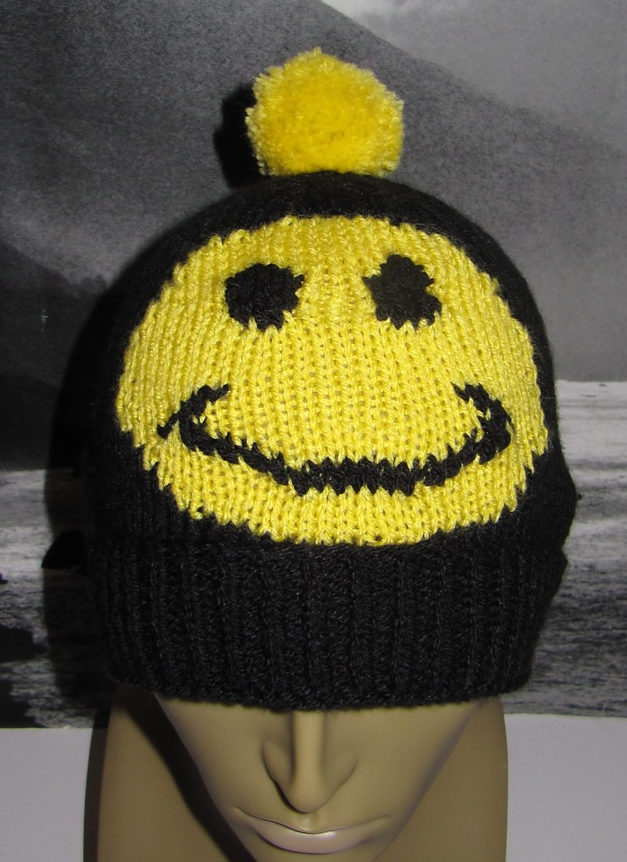 Free Knitting Pattern for Smiley Bobble Beanie Hat