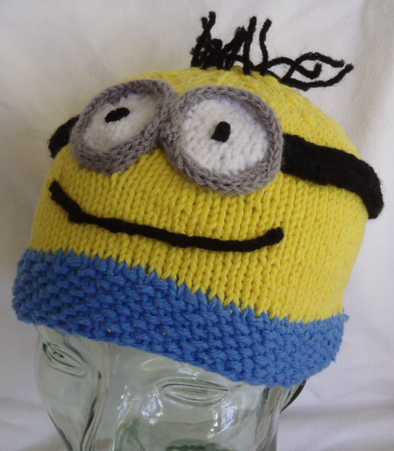 Free Knitting Pattern for Minion Beanie Hat