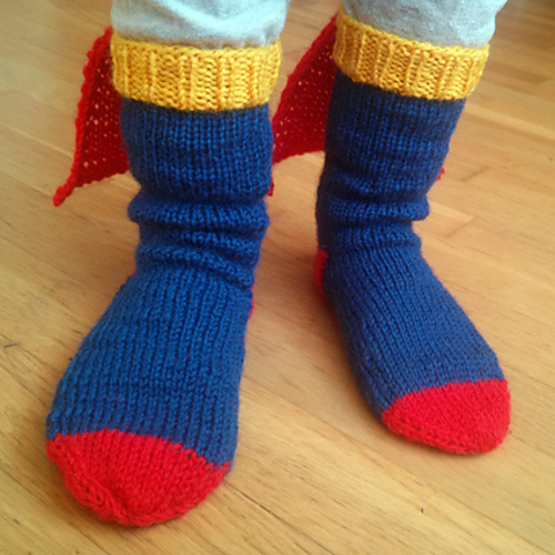 Free knitting pattern for Steely Man Socks - Superman tribute socks