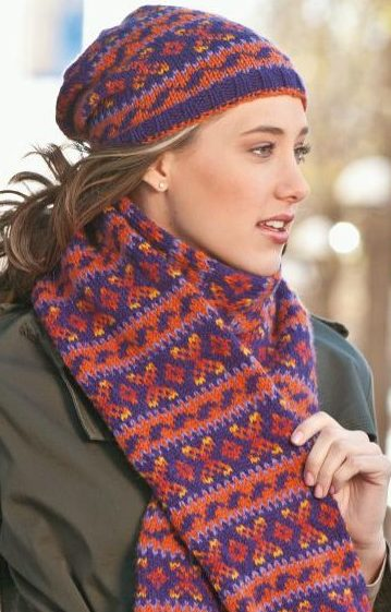 Knitting Pattern for Stockholm Hat and Scarf Set
