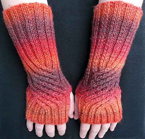 Free Knitting Pattern for Swirling Gauntlets
