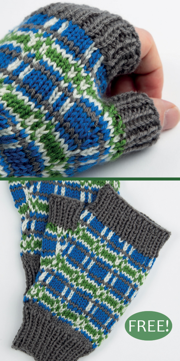 Free Knitting Pattern for Tartan Mitts