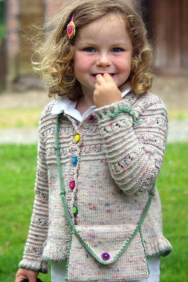 Free Knitting Pattern for Trekking Child's Jacket and Purse