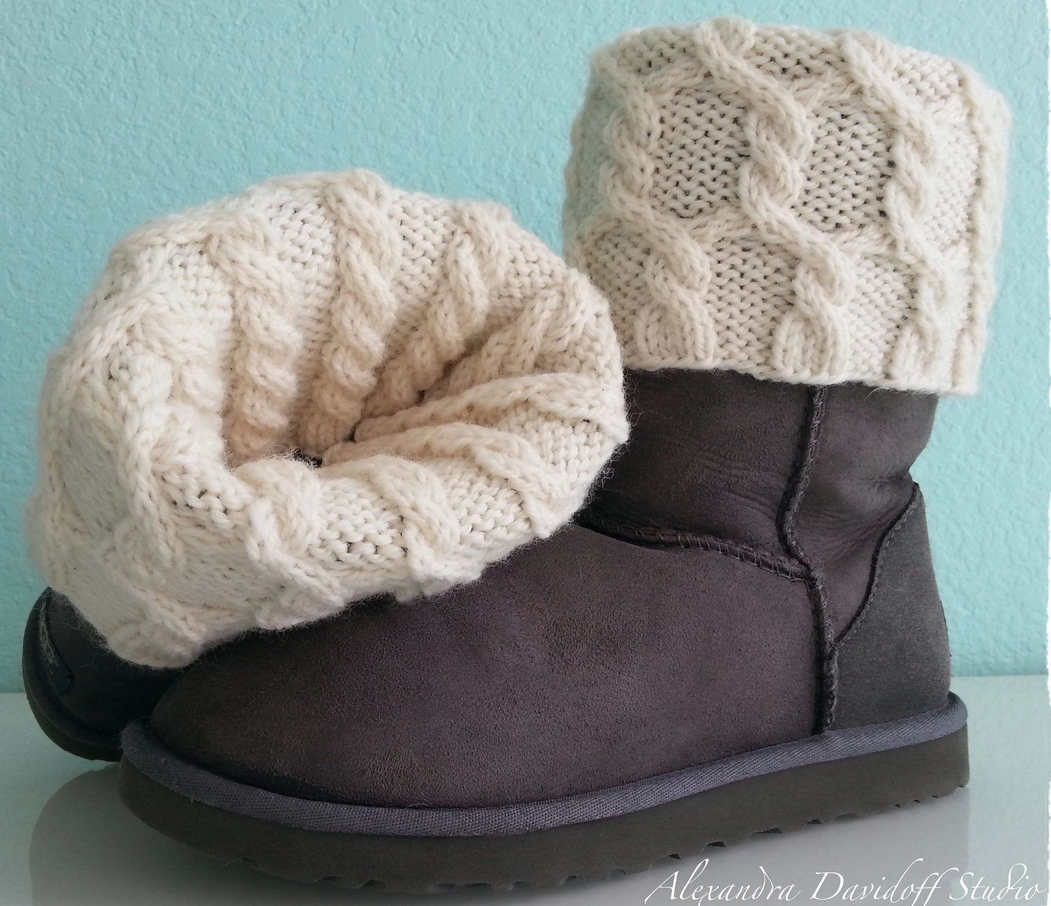 Free Knitting Pattern for UGG HUG Boot Toppers