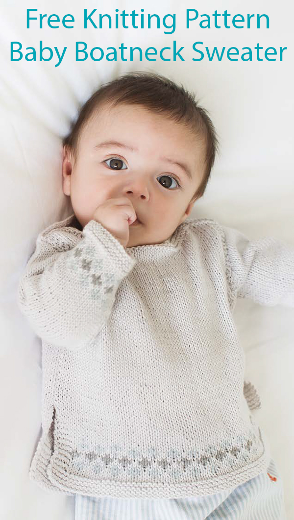 Free Knitting Pattern for Easy Baby Boatneck Sweater