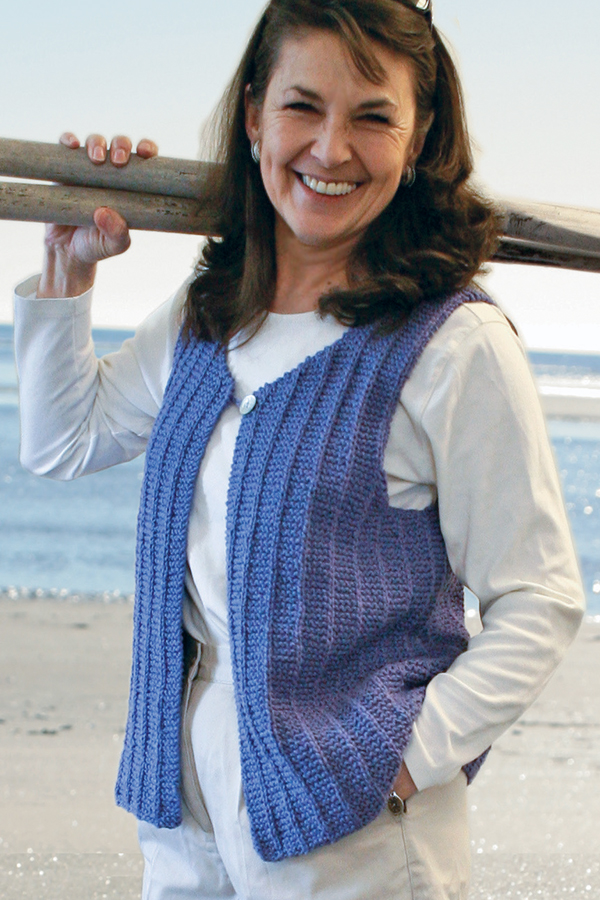 Free Knitting Pattern for 2 Row Repeat Vaill Island Vest