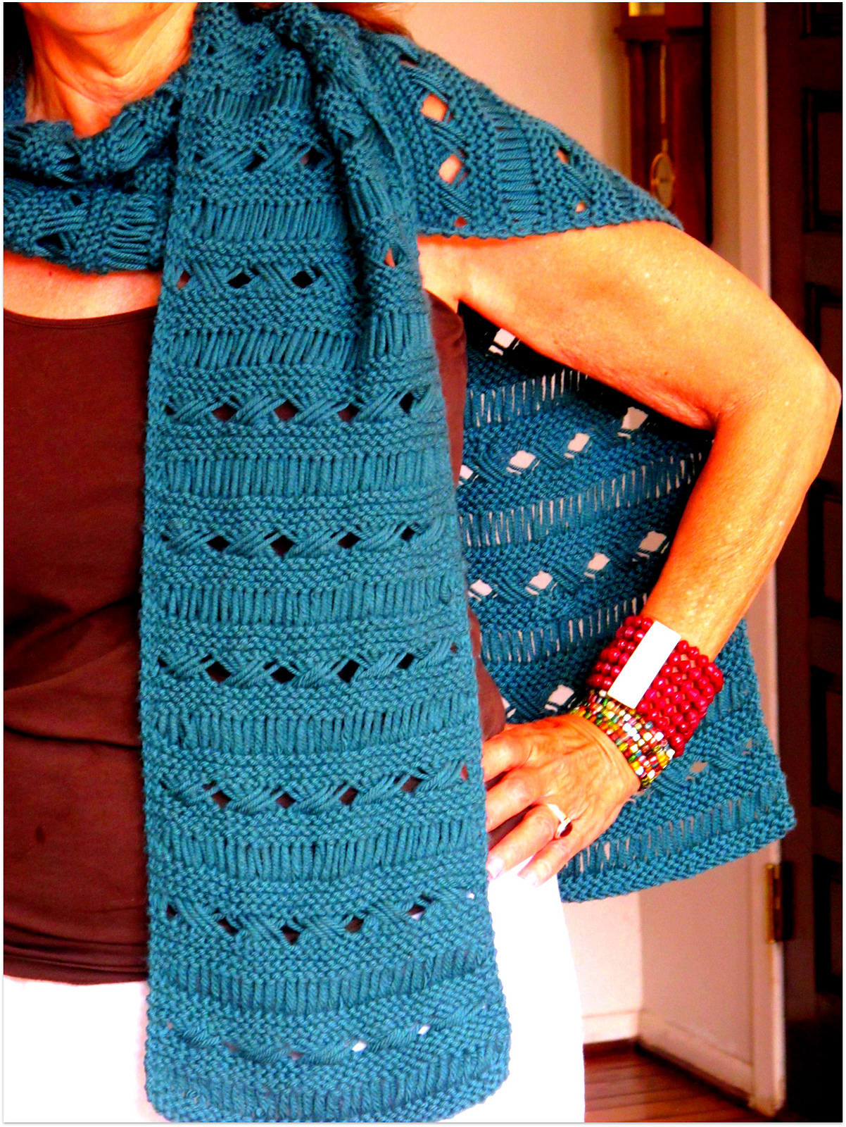 Free Knitting Pattern for Yarnover Cross Scarf