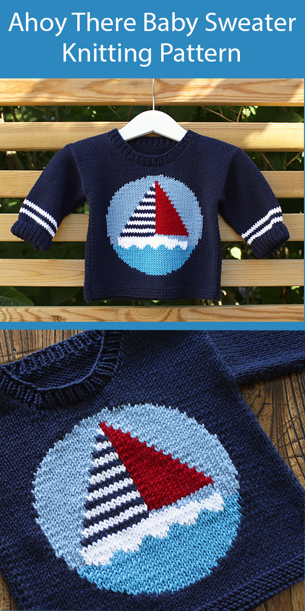 Baby Knitting Pattern for Ahoy There Baby Sweater