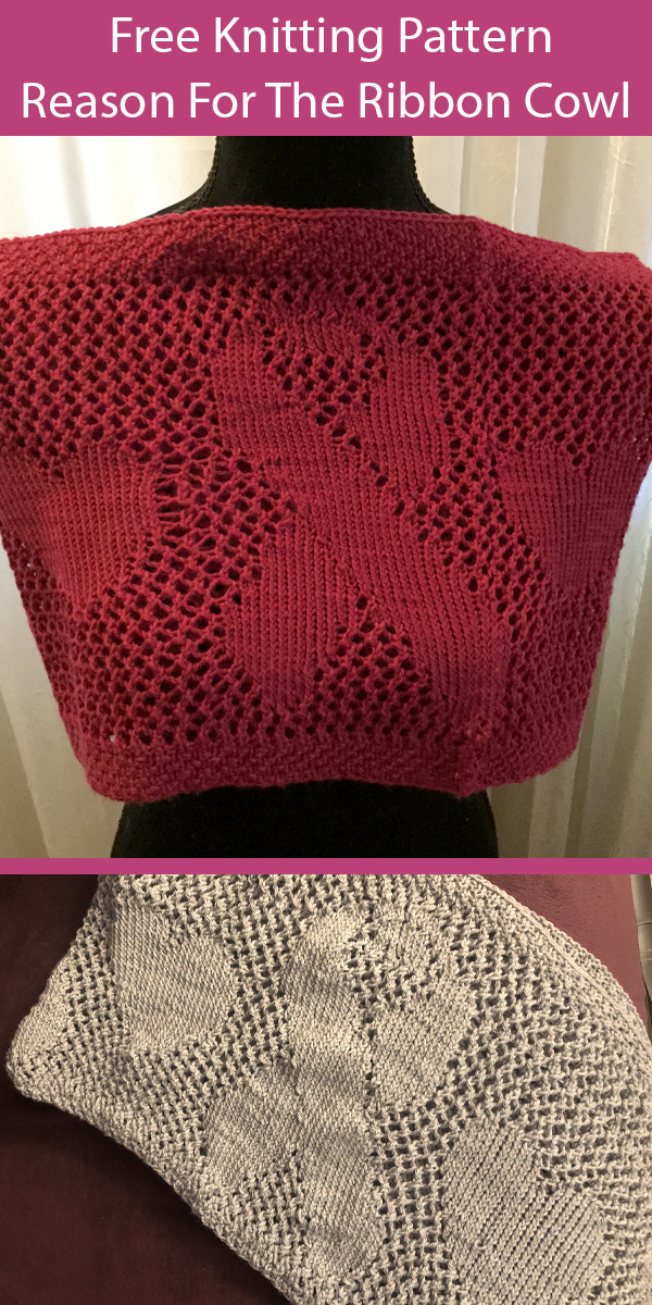 Free Knitting Pattern for A Reason For The Ribbon Cowl