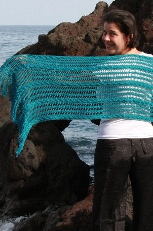 Knitting Pattern for Aaberknot Reversible Cable Lace Stole