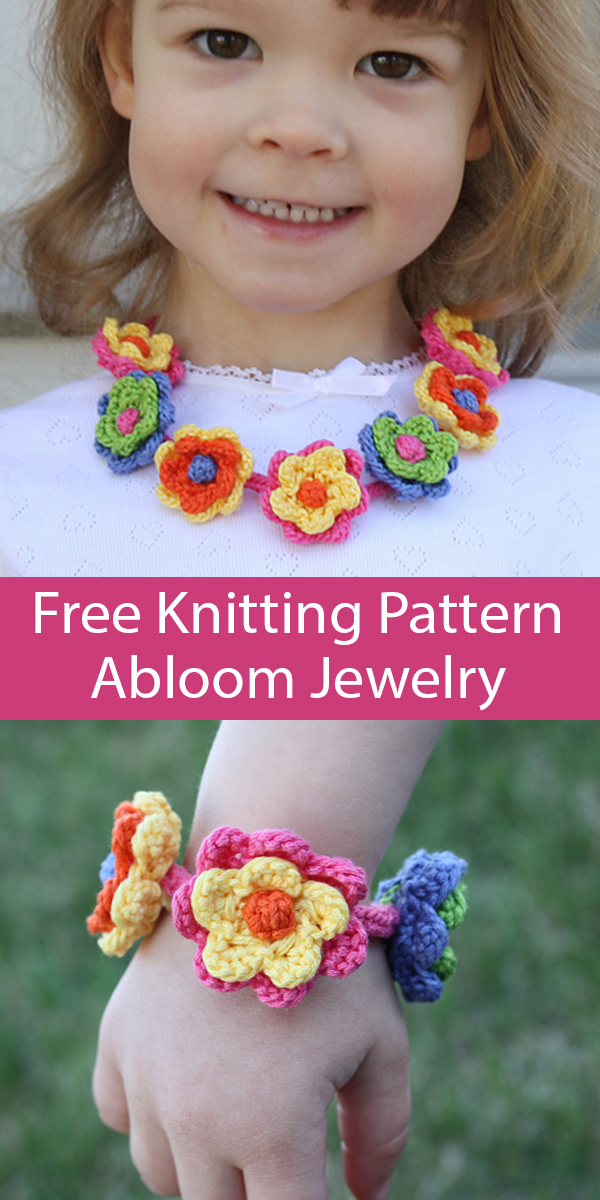 Free Knitting Pattern for Abloom Flower Necklace and Bracelet