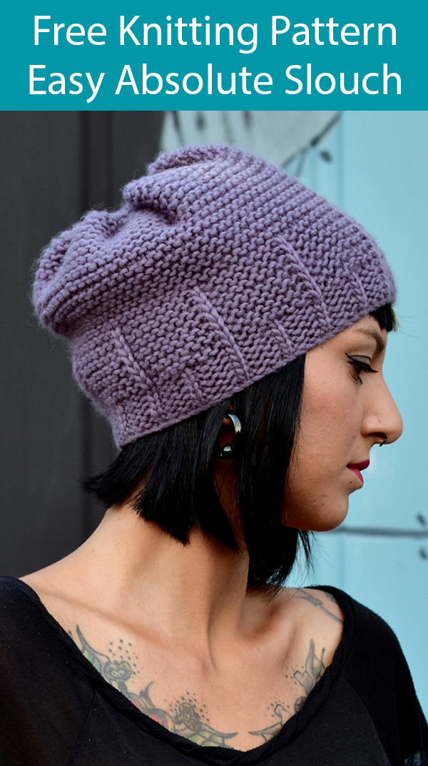 Free Knitting Pattern for Easy Absolute Slouch Hat Knit Flat