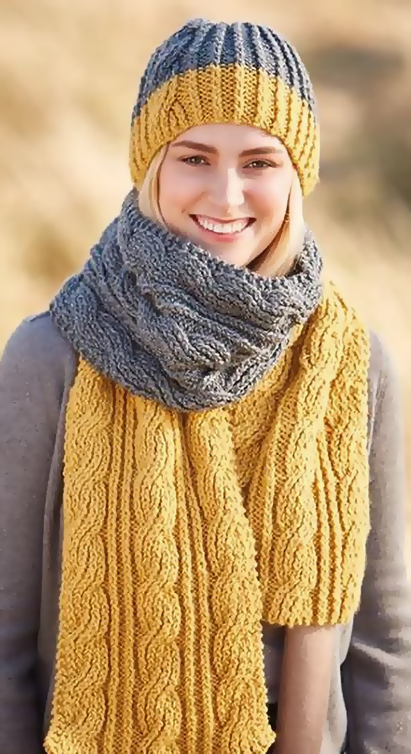 Knitting Pattern for Reversible Cable Scarf and Hat