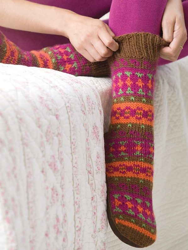 Free Knitting Pattern for Adirondack Slipper Socks