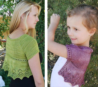 Knittting patterns for matching adult and child shrugs Suzanne Elizabeth