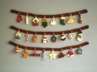 Free knitting patterns for Advent Garland by Frankie Brown and more holiday decoration knitting patterns